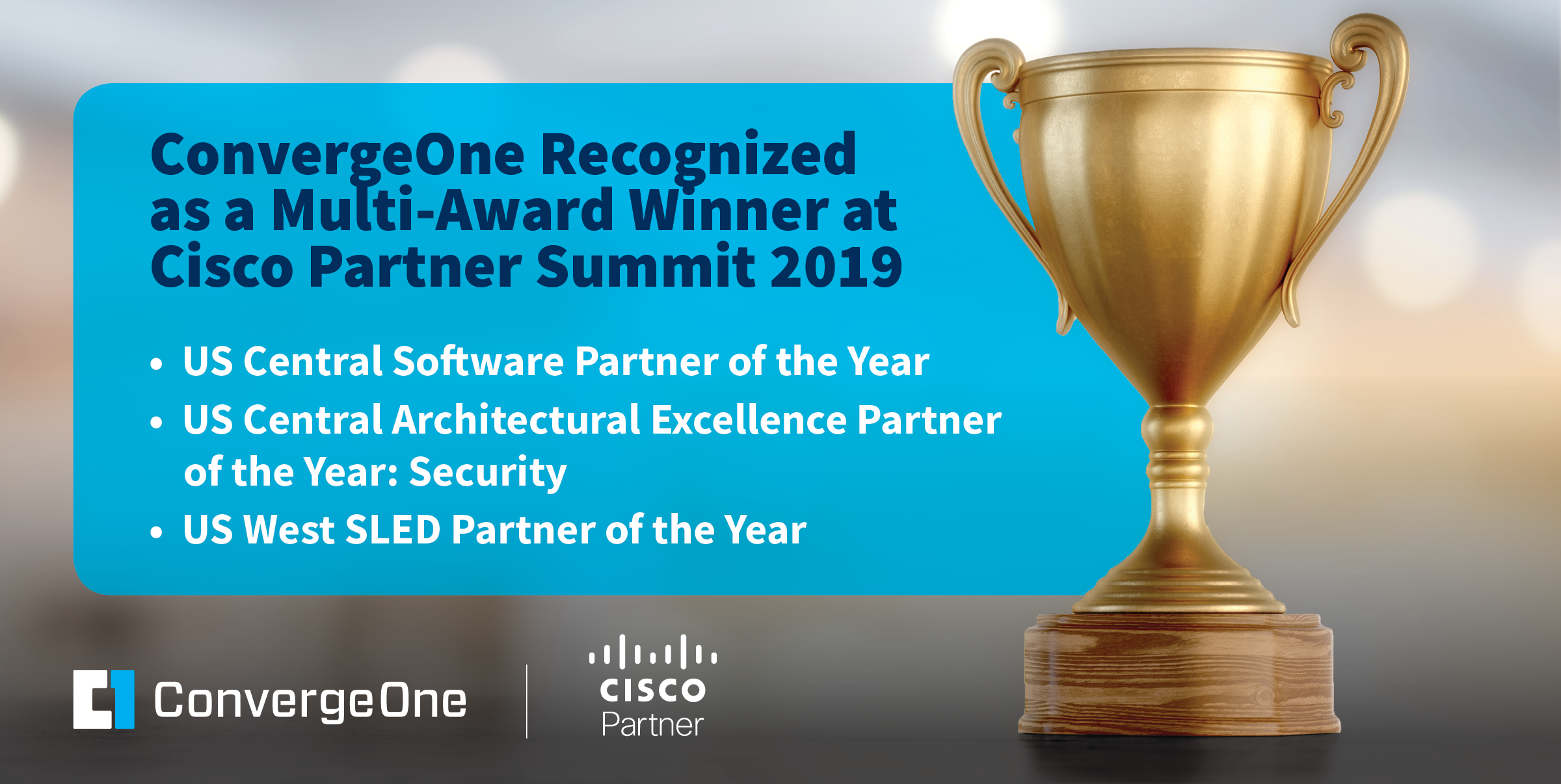 ConvergeOne Recognized as a Multi-Award Winner at Cisco Partner Summit 2019